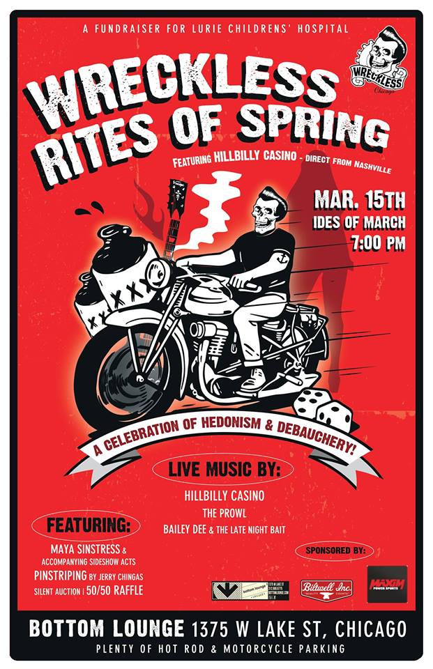 "WreckLess Chicago ""RITES OF SPRING"" Fundraiser with HILLBILLY CASINO"