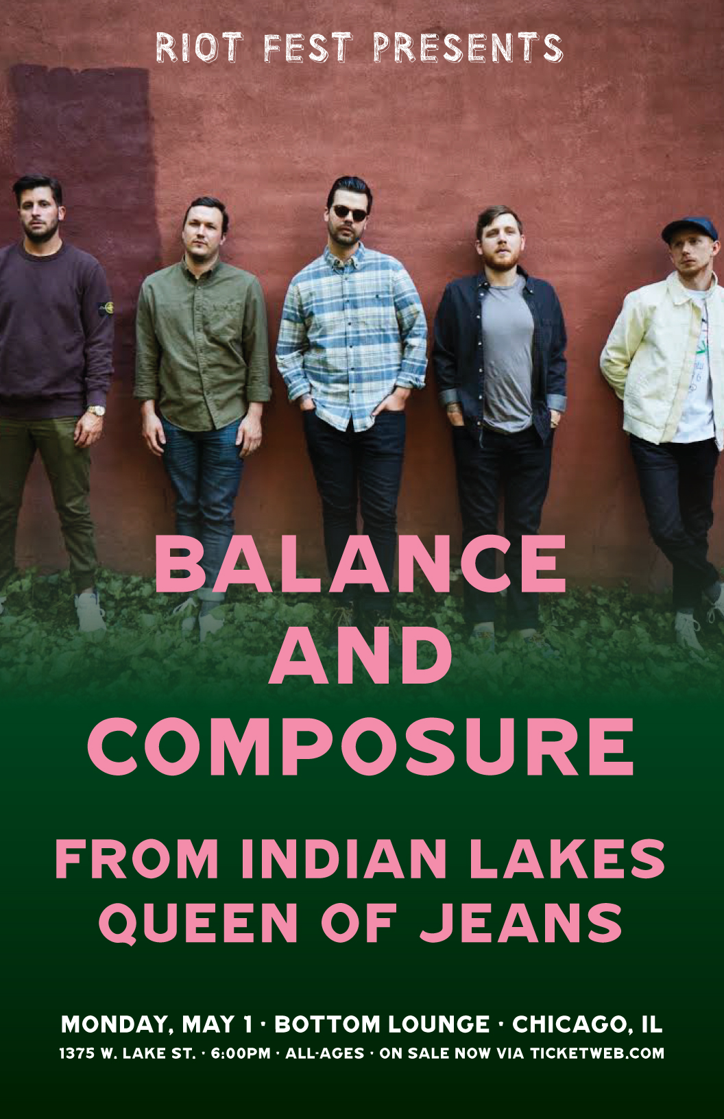 Riot Fest Presents: BALANCE AND COMPOSURE * FROM INDIAN LAKES * QUEEN OF JEANS