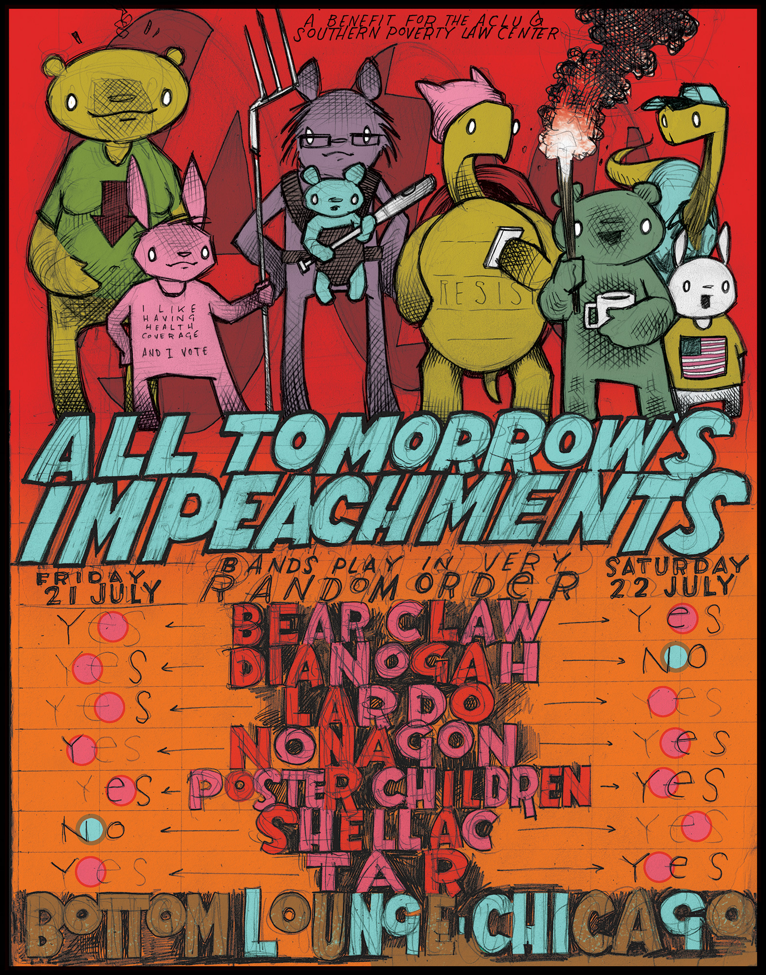 All Tomorrow's Impeachments Presents A Benefit for the ACLU and SPLC: BEAR CLAW * DIANOGAH * LARDO * NONAGON * POSTER CHILDREN * TAR