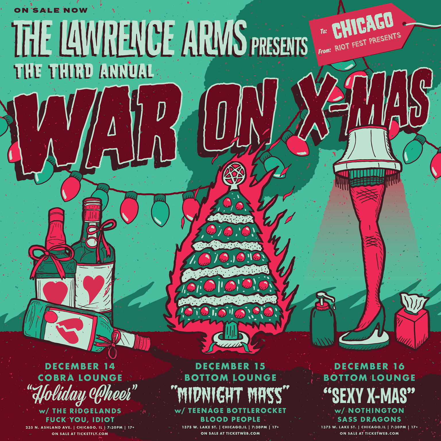 "SOLD OUT! – Riot Fest Presents: THE LAWRENCE ARMS 3rd Annual War On Christmas ""Midnight Mass"" with TEENAGE BOTTLEROCKET * BLOOD PEOPLE"