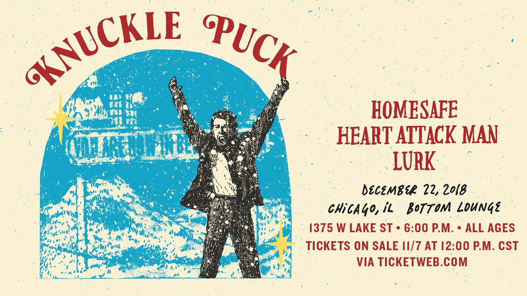 SOLD OUT! – Riot Fest Presents: KNUCKLE PUCK * HOMESAFE * HEART ATTACK MAN  * LURK - Bottom Lounge